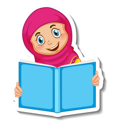 Sticker template with a muslim girl reading book vector