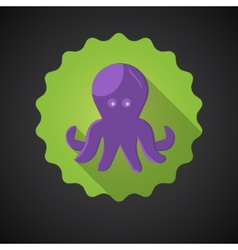 Summer travel sea octopus squid flat icon vector