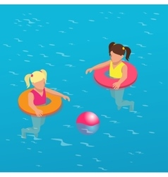 Summertime concept Funny little girl swims in a vector