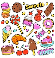 sweet food badges set with patches stickers vector image
