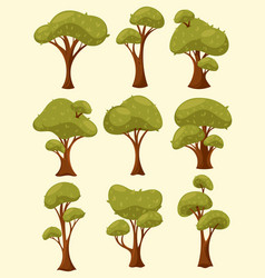 tree with leaves or wood with crown and trunk vector image