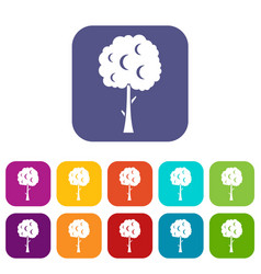 Tree with spherical crown icons set vector