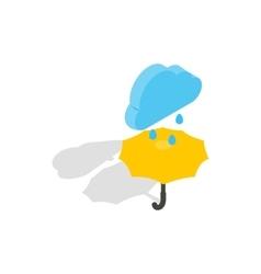 Umbrella and rain icon isometric 3d style vector