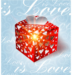 valentines day gift on blue background vector image