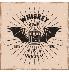 whiskey glass witch wings and rays emblem vector image