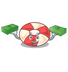 With money bag swim tube mascot cartoon vector