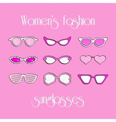 Women fashion isolated sunglasses set vector