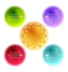 Bright 3d balls and clock for infographic design vector image