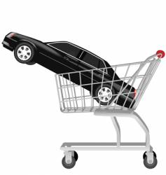 car in shopping cart vector image vector image