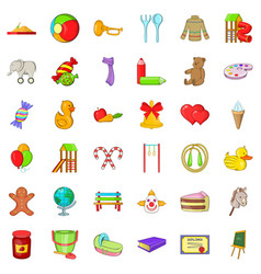 Children icons set cartoon style vector