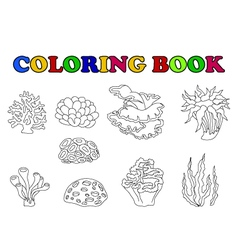 coloring book of beautiful coral collection vector image vector image
