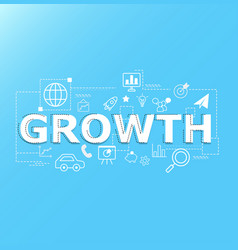 creative of growth word lettering typography vector image