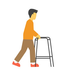 incapacitated faceless person with metal walkers vector image vector image