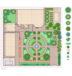 Plan of garden land vector image