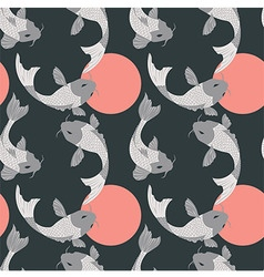 Seamless pattern with carp koi fish and sun vector image