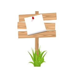 Wooden signpost with announcement grass vector image vector image