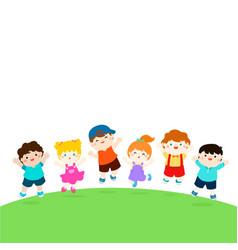 blank template happy school multiracial children vector image vector image