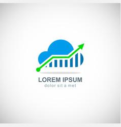 cloud data arrow technology logo vector image