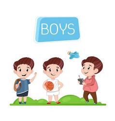 Happy boys characters outdoor activity vector