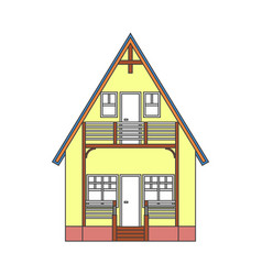 modern house in thin line style on white vector image vector image