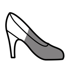 silhouette shading drawing of high heel shoe vector image