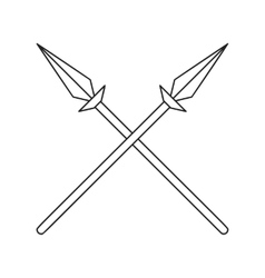 Two crossed spears thin line icon vector image vector image
