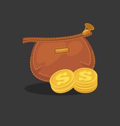 wallets with money shopping purse cas vector image vector image