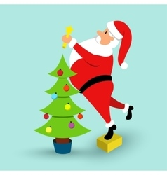 Cartoon Santa Claus and green Christmas tree vector image vector image