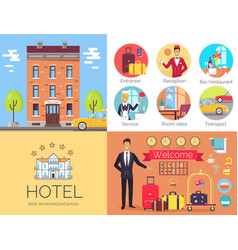 hotel working indoor and outdoor poster with label vector image