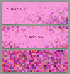 Abstract pixel square mosaic banner design set vector