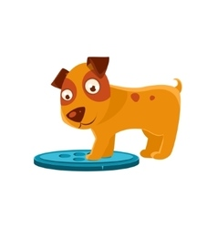 Curious Puppy Stepping On Trapdoor vector image vector image