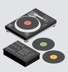dj set of decks and mixer vector image