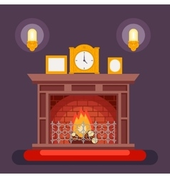 Fireplace Evening Discussing Concept Icon vector image
