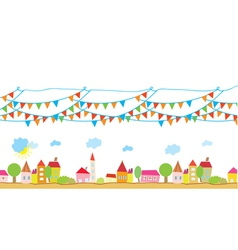 Funny house and flags background vector image vector image