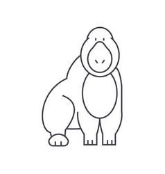 gorilla line icon sign on vector image