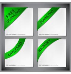 green corner ribbon vector image