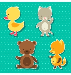 Little cute baby cat bear fox and duck stickers vector image vector image