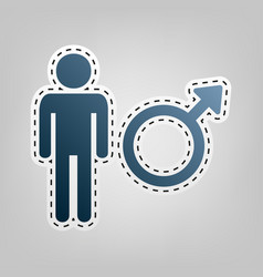 male sign blue icon with vector image vector image