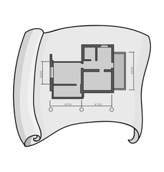 Technical drawing of house icon in monochrome vector image