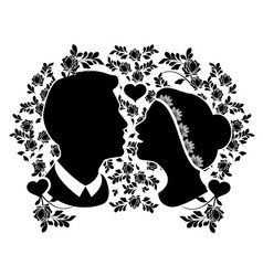 wedding silhouette with flourishes 2 vector image vector image