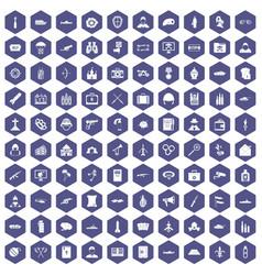 100 military icons hexagon purple vector