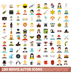 100 movie actor icons set flat style vector