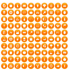 100 natural products icons set orange vector image