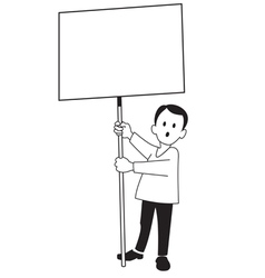 A boy with a poster vector image
