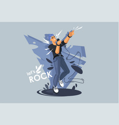A young guy sings on stage a rock star rock vector