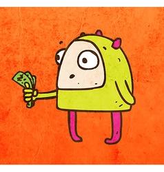 Alien with Money Cartoon vector image