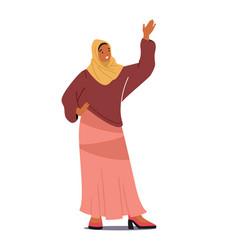 arab woman waving hand arabic muslim female vector image