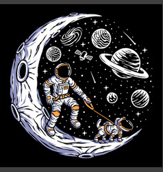 astronaut with his dog on moon vector image