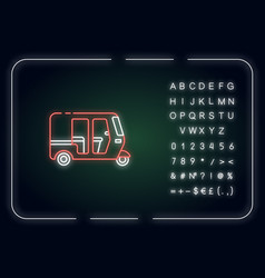 Auto rickshaw neon light icon vector