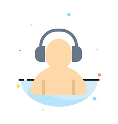 Avatar support man headphone abstract flat color vector